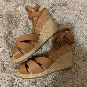 Jimmy Choo Peddle wedge leather sandals espadrille